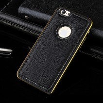 For iPhone 5 Case Luxury Hybrid PU Leather + Aluminum Metal Frame Case For iPhone 5S Case Fashion Armor Accessories Cover