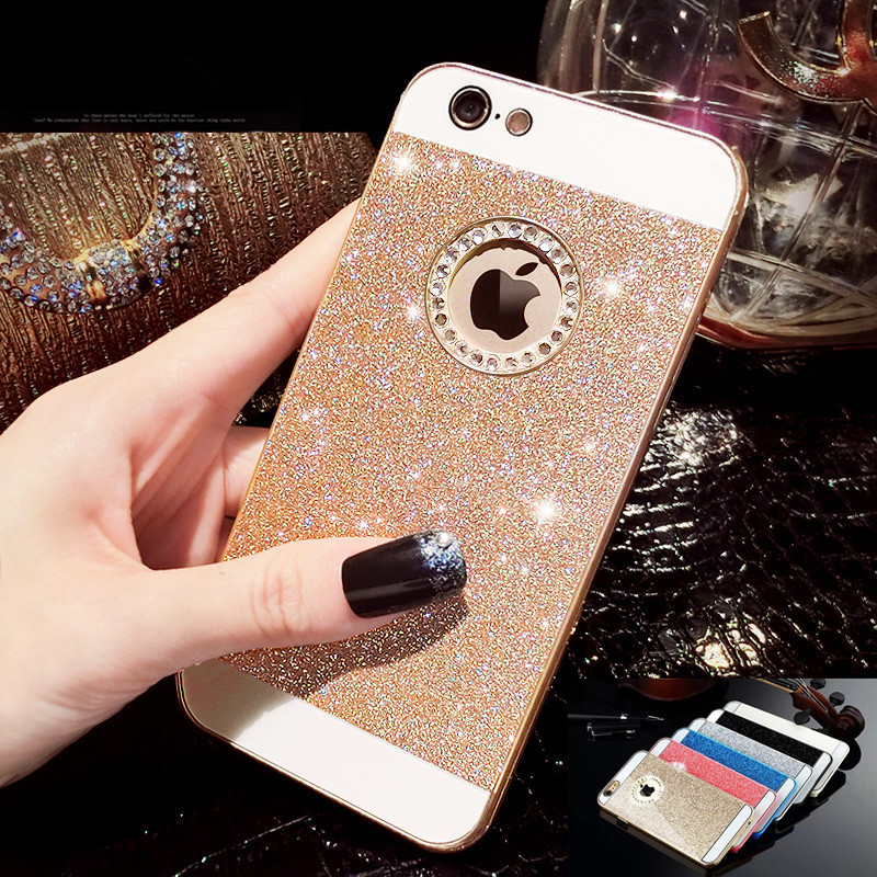 Hot Rhinestone Bling Logo Window Luxury Cover Coque for iPhone SE Case For iPhone 5S case Shinning back cover SE cases Fundas