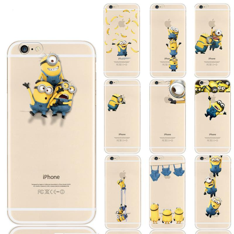 Fashion Despicable Me Yellow Minion Design Case Cover For iphone 5 Case Minion Cover for iPhone 5s Case Transparent Patterens
