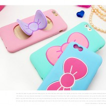Protecter Cases Candy Color Lovely 3D Butterfly Bow Soft TPU Silicon Stand Case For iphone 6 6s case for iphone 6s plus case