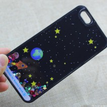 For iPhone 5 5S case Starry Sky Space Ship Glitter Star Flowing Water Liquid Case For iPhone 5S case Hard Covers Phone Cases