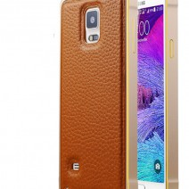 For Samsung Galaxy Note 4 Case Luxury Hybrid PU Leather + Aluminum Metal Frame Case Armor Accessories Cover