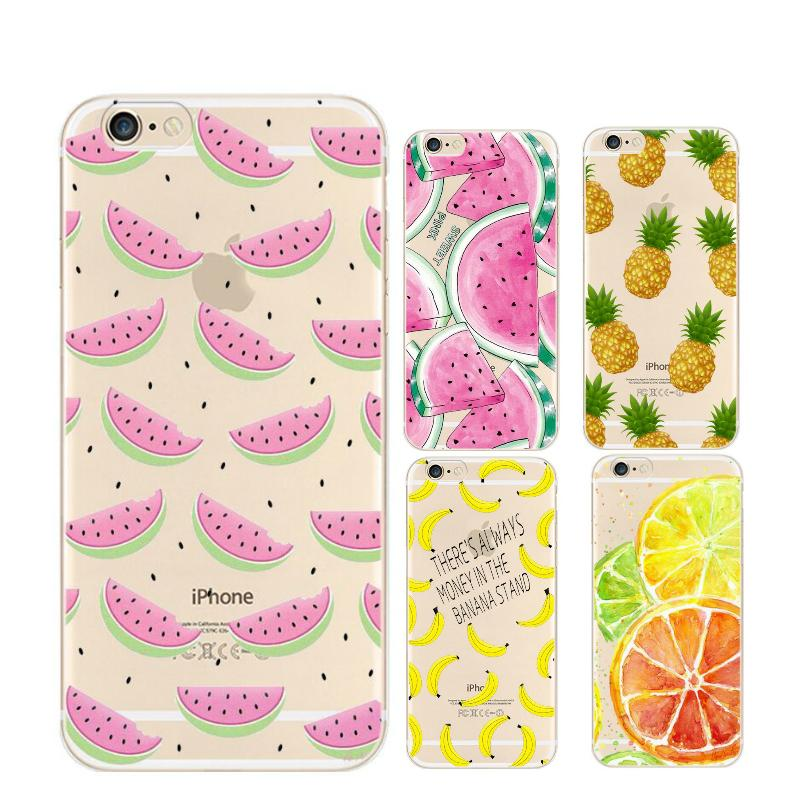 Fruit Pineapple Lemon Banana TPU Soft Silicon Transparent Thin Case Cover Coque For Apple iPhone 4 4S 5 5S SE 5C 6 6S 6s Plus