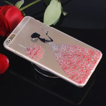 Fancy Rhinestone wedding dress 3D Relief art luxury crystal hard back cover phone for iPhone 6 6s case For iphone 6s plus case