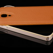 For Samsung Galaxy S5 Case Luxury Hybrid PU Leather + Aluminum Metal Frame Case Armor Accessories Cover