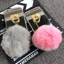 Fundas Rabbit Fur Ball Tassels Metal Ring Cases Soft TPU + Hard PC Girly Coque Cover For Iphone6 I6 For iphone 6 6s / Plus Case