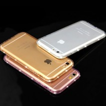 Luxury Bling Diamond Frame Transparent TPU Case Soft Silicone Cover PC Plating Edge Rose Gold Capa For iPhone For Samsung Galaxy