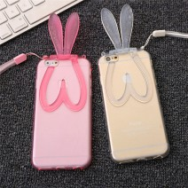 Fashion Cute Transparent Silicone Rabbit Ears Lanyard Back Stand Case Cover for iPhone 5 case For iphone 5s case