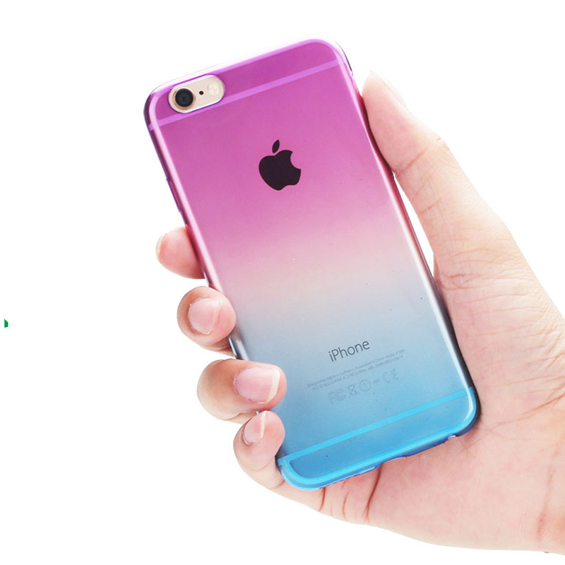 For iPhone 5s case Transparent Gradient Color Design Silicon Phone Covers Shell Slim TPU Anti-Scratch Case for iPhone SE