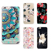 Top Behind Flowers Coque Case For Iphone 6s Case Colorful flowers painted transparent shell For Samsung Galaxy S4 S5 S6 S7 J5