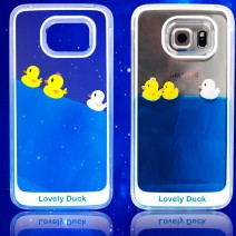 Flowing Liquid Swimming Yellow Duck Clear For Samsung galaxy S5 S6 S6 edge NOTE 3 NOTE 4 case coque capa fundas