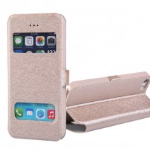 For iPhone 4 4s 5 5s 5c 6 6s 6 Plus 6s Plus case Luxury Silk Flip Cover Case PU Leather Phone Bags Touch Window View Design