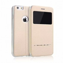 Smart Window View Fashion Case Ultra Thin Cloth Back Flip Leather Cover For iPhone 4 4S 5 5S SE 5C 6 6S Plus Case