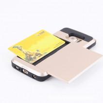 Hybrid Tough Capa Armor Cover Card Slider with Card Storage Mobile Phone Bag Coque For Samsung
