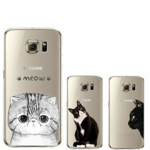Coque For iPhone 5 5S 6 6S For Samsung Galaxy J5 S4 S5 S6 S7 Edge Soft TPU Silicon Transparent Thin Cover Cute Cat Animal Case