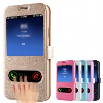 For samsung galaxy S4 mini case Coque Cover Luxury Smart Front Window View Leather Flip