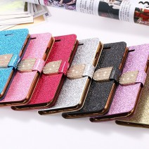 Wallet Cover Fashion Bling Glitter Diamond Flip PU Leather Case For iPhone 5S Case With Card Slots For iPhone 5 case