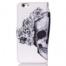 Flower Skull Flip Leather Wallet Cover Case For iPhone 4 4S 5 5S SE 5C 6 6plus / S3 S4 S5 mini S6 S7 S7 edge Grand Prime Core