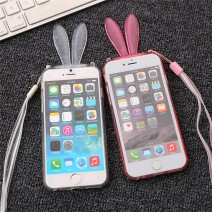 Fashion Cute Transparent Silicone Rabbit Ears Lanyard Back Stand Case Cover for iPhone 6 6s case For iphone 6s plus case
