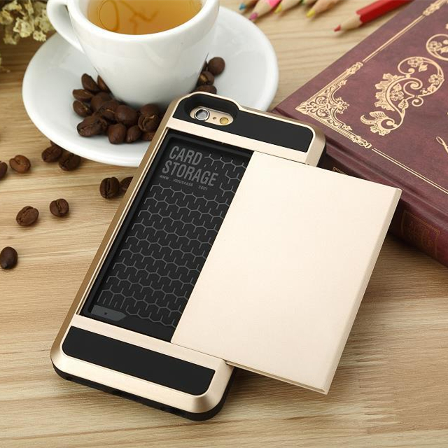 with LOGO Hybrid Tough case Card Slider with Card Storage Armor Cover coque For iphone 4 4s 5 5s 5c 6 6s Plus case
