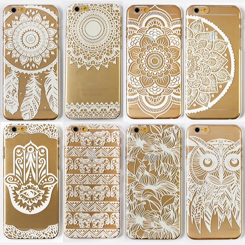 Back Cover For Apple iPhone 5 5s 6 6s 6 Plus case Slim Transparent White Floral Paisley Flower Mandala Case Soft TPU Gel Case