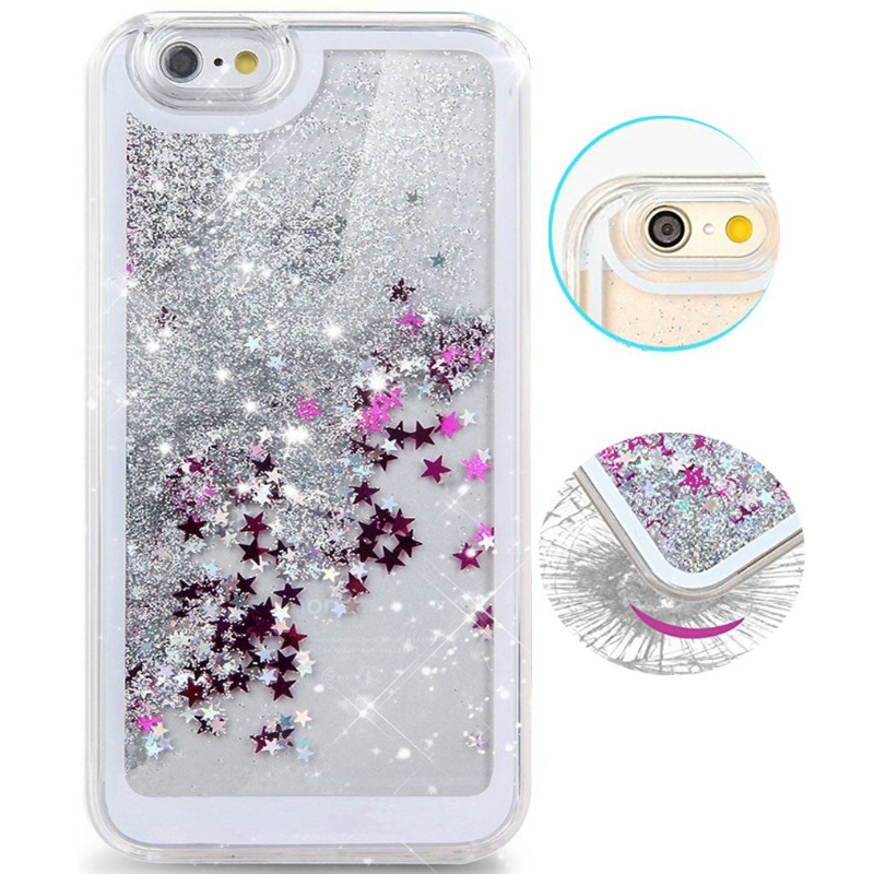 Dynamic Liquid Glitter Sand Quicksand Star For iPhone 4 4s 5 5s 5c 6 6s Plus case Crystal Clear phone Back Cover coque