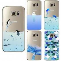 Cute penguin ocean Design Transparent Silicone Cover For iPhone 5 5S 6 6S For Samsung Galaxy J5 S5 S6 S7 Edge A3 A5 2016 Case