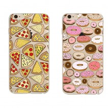 Fashion-designed Printed Design Donuts Pizza Transparent Soft Silicone TPU Cover Coque For iPhone 4 4S 5 5S SE 5C 6 6S Plus Case