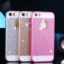 2016 New Shinning Logo Window Back Cover Sparkling for iPhone 5 case For iphone 5s case Luxury Flash Diamond Mobile